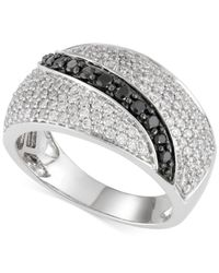 Macy's - Metallic Black And White Diamond Ring (1 Ct. T.w.) In 14k White Gold - Lyst