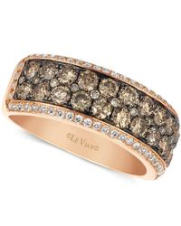 Le Vian | Metallic Chocolate And White Diamond 2-row Band (1-1/2 Ct. T.w.) In 14k Rose Gold | Lyst