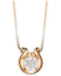 Macy's   Metallic Sirena 14k Gold Necklace, Bezel-set Diamond Accent Pendant   Lyst