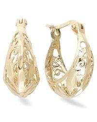 Giani Bernini - Metallic 18k Gold Over Sterling Silver Earrings, Filigree Hoop Earrings - Lyst