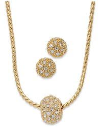 Charter Club | Metallic Gold-tone Crystal Necklace And Earring Jewelry Set | Lyst