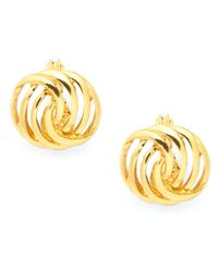 Charter Club | Metallic Gold-tone Openwork Button Earrings | Lyst