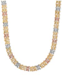 Macy's - Metallic Tri-color Butterfly Link Collar Necklace In 10k Yellow, White And Rose Gold - Lyst