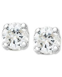 Macy's | Metallic 10k White Gold Earrings, Round-cut Diamond Accent Stud Earrings | Lyst