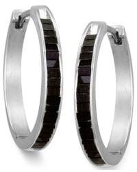 Macy's | Sterling Silver Earrings, Black Diamond Baguette Hoop Earrings (1 Ct. T.w.) | Lyst
