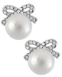 Betsey Johnson - Metallic Silver-tone Crystal Bow Imitation Pearl Stud Earrings - Lyst