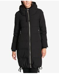 DKNY - Black Cinch-hem Down Puffer Coat - Lyst