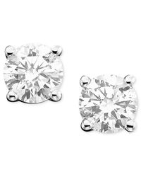 Macy's | Metallic Diamond Stud Earrings In 14k White Or 14k Gold (3/8 Ct. T.w.) | Lyst