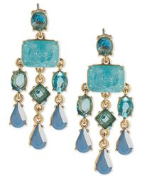 Carolee - Gold-tone Blue Stone Chandelier Earrings - Lyst