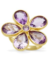 Macy's | Multicolor 18k Gold Over Sterling Silver Ring, Amethyst Flower Ring (6-9/10 Ct. T.w.) | Lyst