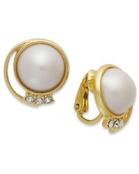 Charter Club | Metallic 14k Gold-plated Plastic Pearl Dome Earrings | Lyst