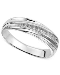 Macy's - Metallic Wedding Band Ring In Sterling Silver (1/10 Ct. T.w.) - Lyst