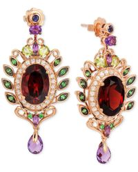 Le Vian   Multicolor Crazy Collection Garnet (10 Ct. T.w.) And Multi-stone (3-5/8 Ct. T.w.) Drop Earrings In 14k Rose Gold   Lyst