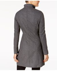 CALVIN KLEIN 205W39NYC - Gray Buckled Stand-collar Walker Coat - Lyst