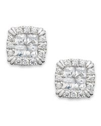 Macy's | Princess Treasures Diamond Stud Earrings In 14k White Gold (1-1/4 Ct. T.w.) | Lyst