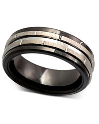 Macy's - Multicolor Men's Tungsten Ring, Black Ceramic Tungsten Design Ring for Men - Lyst