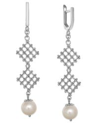 Effy Collection - Metallic Pearl Lace By Effy Cultured Freshwater Pearl Diamond-shaped Drop Earrings In Sterling Silver (8-1/2mm) - Lyst