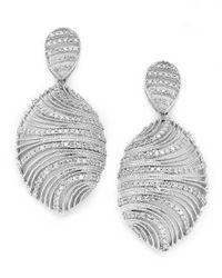 Macy's | Metallic Diamond Shell Earrings In Sterling Silver (1 Ct. T.w.) | Lyst