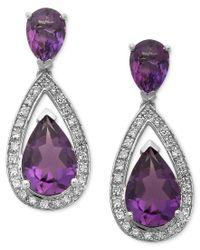 Macy's | Purple Sterling Silver Earrings, Amethyst (5-1/10 Ct. T.w.) And Diamond (1/5 Ct. T.w.) Pear Drop Earrings | Lyst