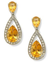 Macy's | Metallic Sterling Silver Earrings, Citrine (5-1/10 Ct. T.w.) And Diamond (1/5 Ct. T.w.) Pear Drop Earrings | Lyst