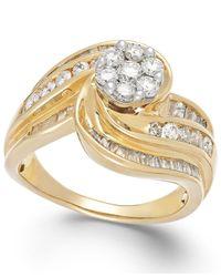 Macy's - Metallic Diamond Swirl Ring In 10k Gold (1-1/4 Ct. T.w.) - Lyst