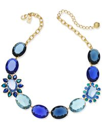 Kate Spade - Blue Gold-tone Colored Stone Statement Necklace - Lyst