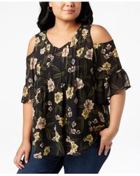 Style & Co. Black Plus Size Printed Pleated Cold-shoulder Top, Created For Macy's