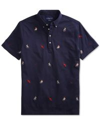 Polo Ralph Lauren - Blue Sailboat Embroidered Classic-fit Knit Oxford Shirt for Men - Lyst