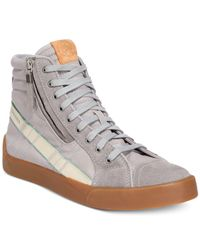 DIESEL   Gray Men's D-velows D-string Plus Hightop Sneakers for Men   Lyst
