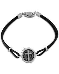 Effy Collection - Metallic Black Leather Cross Bracelet In Sterling Silver for Men - Lyst