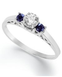 Macy's | Blue Diamond (1/3 Ct. T.w.) And Sapphire (1/6 Ct. T.w.) Engagement Ring In Sterling Silver | Lyst