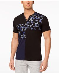 INC International Concepts - Black Pieced Colorblocked Split-neck Snap T-shirt, Created For Macy's for Men - Lyst