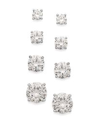 Giani Bernini - White Sterling Silver Earrings Set, Cubic Zirconia Set Of Four Stud Earrings (7-1/2 Ct. T.w.) - Lyst