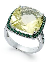 Macy's | Sterling Silver Ring, Lemon Quartz (9-1/2 Ct. T.w.) And Green Swarovski Zirconia (3/4 Ct. T.w.) Ring | Lyst