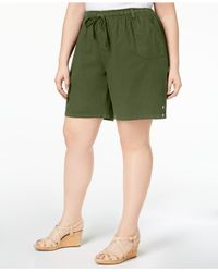 Karen Scott - Green Plus Size Drawstring Cotton Shorts, Created For Macy's - Lyst