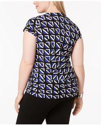 Anne Klein - Blue Plus Size Printed Cap-sleeve Top - Lyst