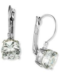Nine West | White Earrings, Silver-tone Round-cut Crystal Drop Earrings | Lyst