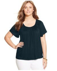 Style & Co. | Green Plus Size Top, Short-sleeve Pleated | Lyst