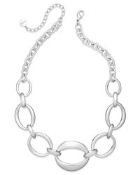 Charter Club - Metallic Silver-tone Oval Chain Frontal Necklace - Lyst