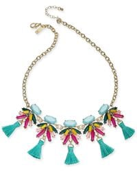 """INC International Concepts - Blue I.n.c. Gold-tone Multi-stone & Tassel Statement Necklace, 18"""" + 3"""" Extender, Created For Macy's - Lyst"""
