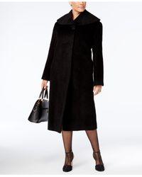Jones New York - Black Plus Size Textured Maxi Walker Coat - Lyst