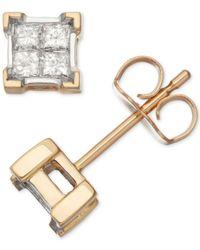 Macy's - Metallic Diamond Quad Cluster Stud Earrings (1/3 Ct. T.w.) In 14k Gold - Lyst
