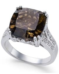 Macy's - Brown Smoky Quartz (5 Ct. T.w.) And White Topaz Accent Ring In Sterling Silver - Lyst