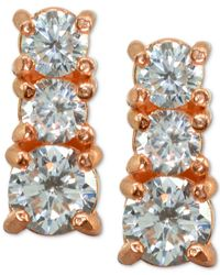 Giani Bernini Metallic Cubic Zirconia Graduated Stud Earrings In Sterling Silver, Created For Macy's