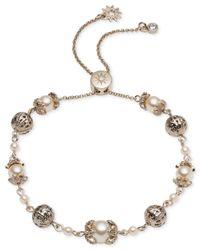 Marchesa - Metallic Gold-tone Bead & Imitation Pearl Slider Bracelet - Lyst