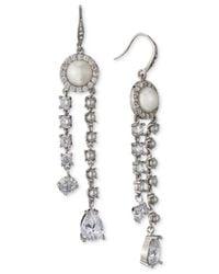 Carolee - White Silver-tone Crystal & Imitation Pearl Linear Drop Earrings - Lyst