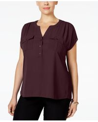 INC International Concepts - Brown Plus Size Mixed-media Utility Shirt, Only At Macy's - Lyst