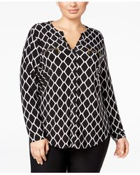 INC International Concepts | Black Plus Size Printed Zip-pocket Shirt, Only At Macy's | Lyst