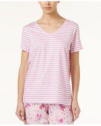 Hue - Pink Striped Pajama T-shirt - Lyst