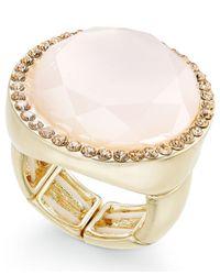 INC International Concepts - Metallic Gold-tone Pink Stone & Pavé Ring - Lyst